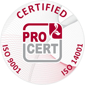We are holders of the ISO 9001:2016 and ISO 14001:2016 certificates